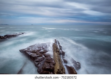 A winter day near the seaside. Long exposure shots with silky water effect.