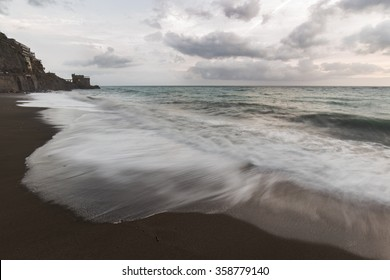 a winter day on the beach of maiori in the amalfi coast