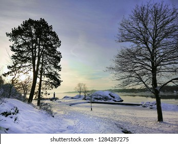 Winter day in the park in Larvik, Norway.