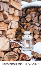 Winter Deco Lantern on wooden background