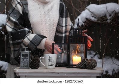 Winter decor in the village garden