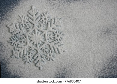 Winter decoration. White snowflake. Free space for text. Flat lay.