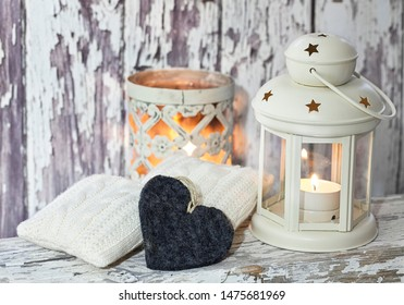 Winter Decoraton Rustic Style With Lantern And Hearts