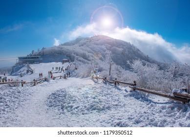 winter at deokyusan mountain muju city south korea