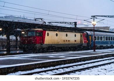 Winter detail train view. Train on the platform of Bucharest North Railway Station (Gara de Nord Bucuresti) in Bucharest, Romania, 2021