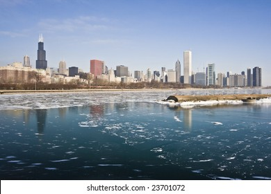 Winter in Downtown Chicago, IL.