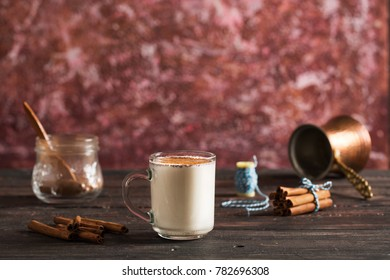 Winter Drink Sahlep on Colorful Background