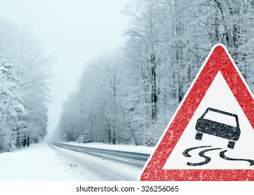 Winter Driving - Caution Risk of Snow and Ice