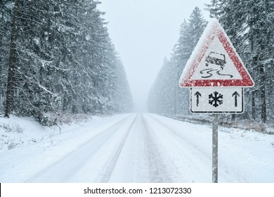 Winter Driving - Heavy snowfall on a country road. Driving on it becomes dangerous …