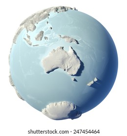 Winter earth isolated on white background. 3d render. Continent Australia. Elements of this image furnished by NASA