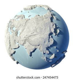 Winter earth isolated on white background. 3d render. Continent Asia. Elements of this image furnished by NASA