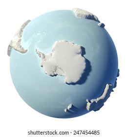 Winter earth isolated on white background. 3d render. South Pole. Elements of this image furnished by NASA