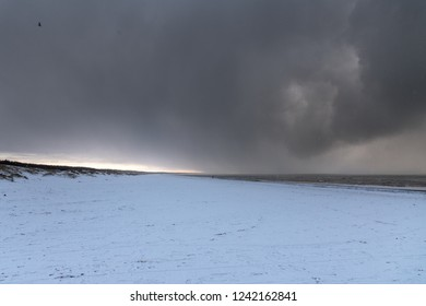 Winter evening by Baltic sea.