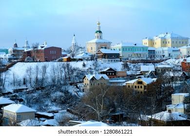 Winter evening in the city of Vladimir. Russia, Vladimir, 06/01/2019