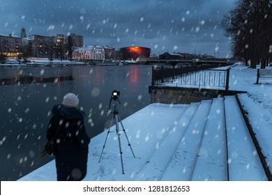 Winter evening in Liepaja city, Latvia.