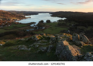 Winter Evening on Loughrigg Fell, looking towards lake Windermere