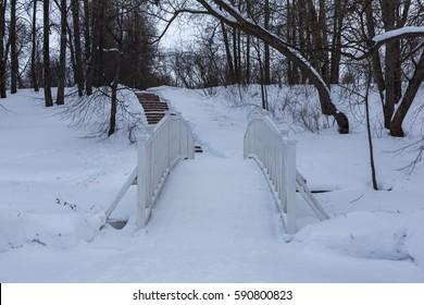 Winter evening in the park of the Lermontov's Memorial  Estate former Tarkhany, Penza Region, Russia