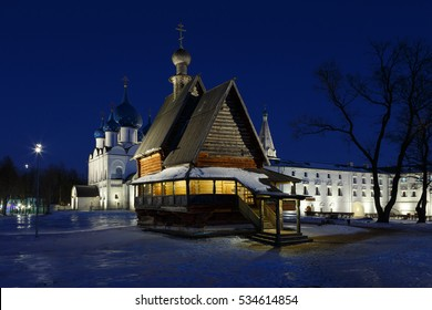 Winter evening in Russia. The architectural ensemble of Suzdal Kremlin is included in the list of world heritage of UNESCO.