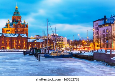 Winter evening scenery of the Old Town pier architecture in Helsinki, Finland