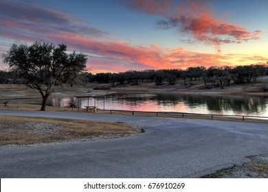 Winter evening at a Texas Lake near Waco