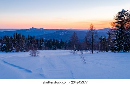 Winter evening in the Ural mountains. Russia