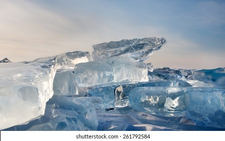 Winter. Extremal cracks on Ice  of Lake Baikal.  thickness of about one meter. . Ice storm. the crystal clear frozen water. Used toning of the photo.