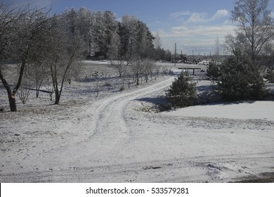 winter fairy landscape with falling snow