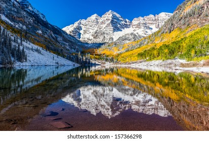 Winter and Fall foliage at Maroon Bells, Colorado