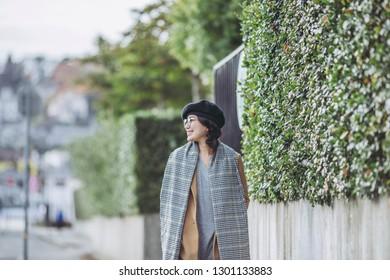 Winter fashion Asian woman