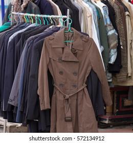 Winter fashion cloth on rack in market
