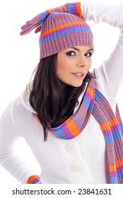 Winter fashion girl isolated on white background