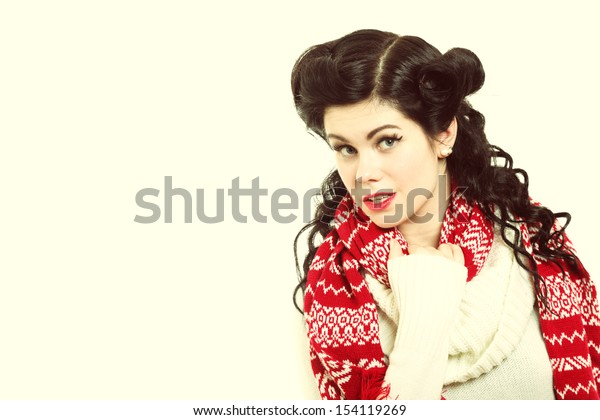 winter fashion portrait brunette woman retro hairstyle in warm clothing vintage photo studio shot
