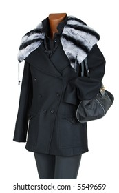 Winter female coat with a fur collar