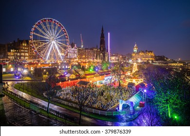 Winter festival in old town Edinburgh at night, Scotland UK