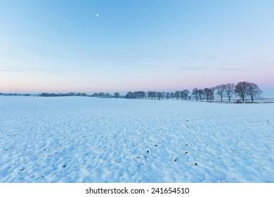 winter field after sunset