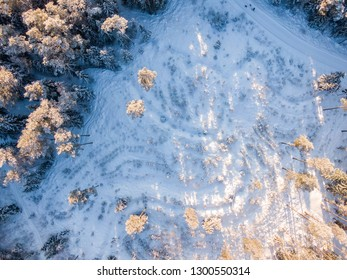 Winter field with snow from top