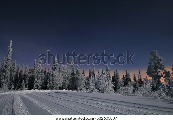 Winter in Finish Lapland. Nightly range road in the Pyhä-Luosto National Park with night sky of the polar night under the full moon near Luosto village.