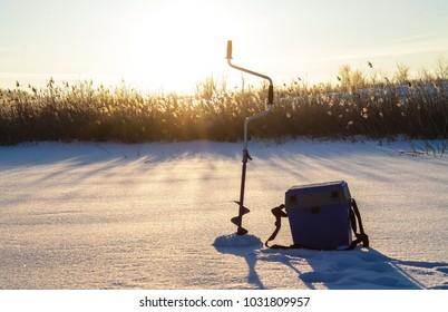 Winter fishing.  Dawn in winter