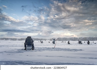 winter fishing on ice, natural background