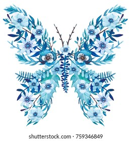 Winter Floral Butterfly with Watercolor Blue Flowers and Leaves. Isolated on White Background
