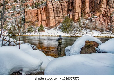 Winter fly fishing in Red Canyon on Utah's Green River in the Flaming Gorge National Recreation area.