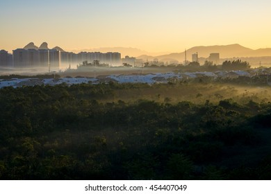 Winter Fog / Morning fog during sunrise in Rio de Janeiro winter season. The weather is mild and despite the fog there is no chance of rain.
