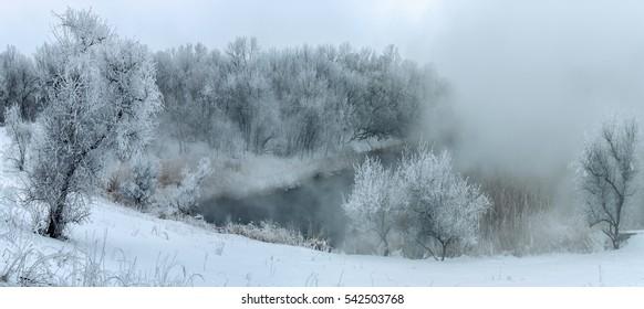 Winter fog in the river