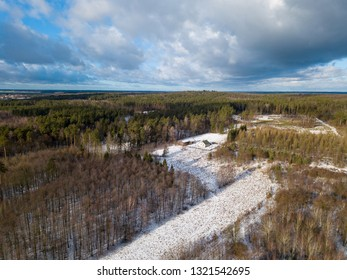 Winter forest aerial landscape. Snowy winter forest photographed from above.