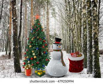 In the winter forest by the decorated Christmas tree are the Christmas presents that cost next to snowman in the hat.