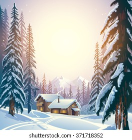 Winter forest mountain landscape with the houses. Shelter for tourists.