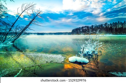 Winter forest river ice snow landscape. Winter forest river view. Winter forest river snow  scene. Winter forest river snow landscape