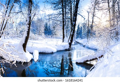 Winter forest river landscape in snow nature