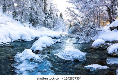 Winter forest snow river flow landscape. Forest river flow in winter snow forest scene. Winter snow river forest view