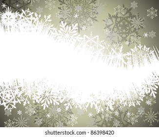 Winter frame background with snowflakes elements